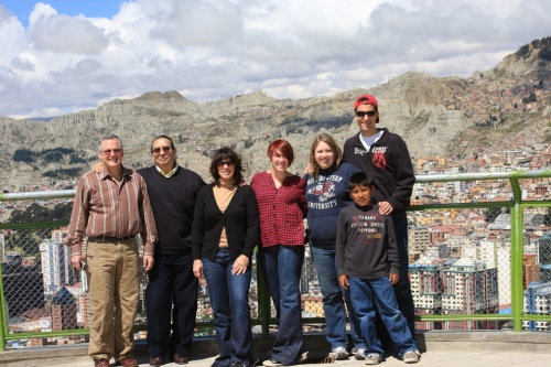 The Chase/Lennox clan overlooking La Paz, along with our friend René